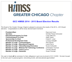 HIMSS 2014-2015 Board Election Results