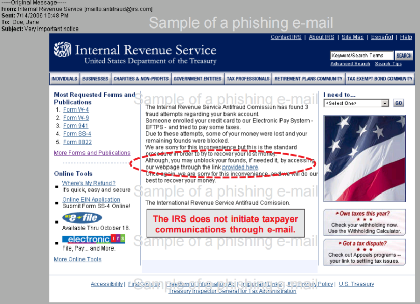 IRS does not initiate taxpayer communications via email