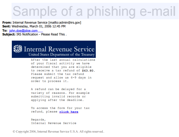 Sample of Phishing Email from IRS